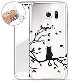 FINOO | Samsung Galaxy S6 Weiche Flexible Silikon-Handy-Hülle | Transparente TPU Cover Schale mit Motiv | Tasche Case Etui mit Ultra Slim Rundum-Schutz | Katze auf AST