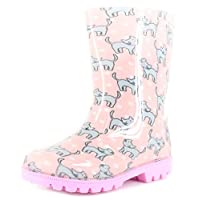 Princess Stardust New Younger Girls/Childrens Pink/Lilac Cat Print PVC Wellington Boots. - Pink/Lilac - UK Sizes 4-12