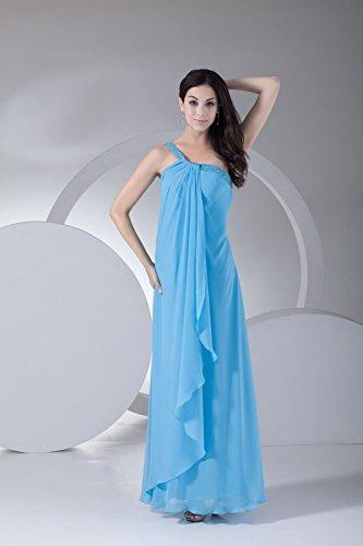 Bridal_Mall Damen Neu Sommer Ein-Schulter Abendkleider Lang Beaded Einfach Chiffon Prom Partykleid Orange