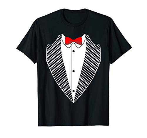 Red Bow Tie Tuxedo Costume Funny Prom Ceremony T-Shirt