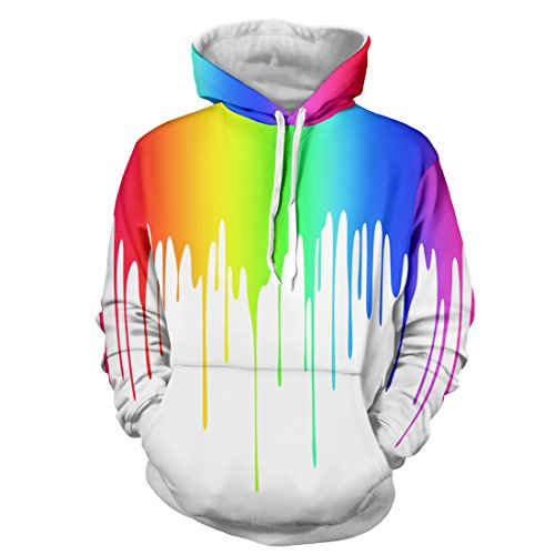 Comeon Unisex 3D Colourful Hoodie Printing Drawstring Sports