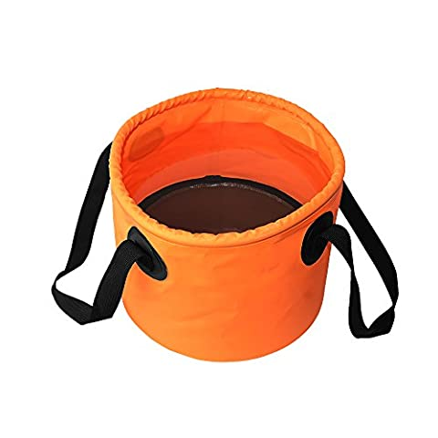 YALUYA Protable Bucket Collapsible Bucket Multifunctional Wash Basin for Camping- Perfect for camping when space is a premium (Orange,