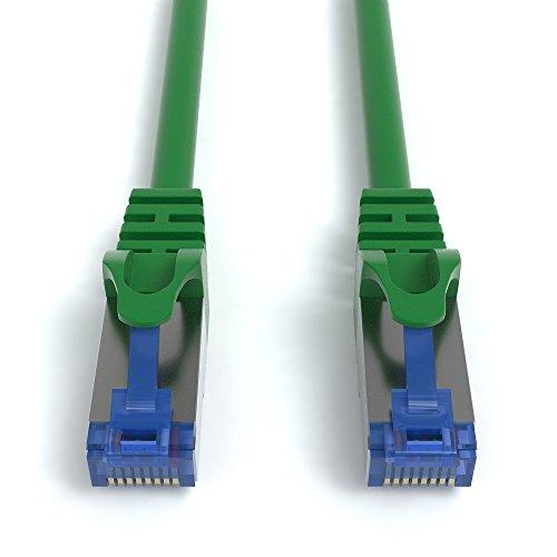 4m CAT.7 Netzwerkkabel (RJ45) Patchkabel Ethernet Lan in grün  10Gbit/s   600MHz   abwärtskompatibel zu CAT.5 / CAT.5e / CAT.6   von JAMEGA