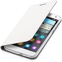 kwmobile Funda potectora práctica y chic FLIP COVER para Huawei Ascend G7 en blanco
