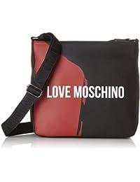 Love Moschino - Borsa Saffiano Pu Nero-rosso, Bolsas para portátil Hombre, Varios colores (Black-red), 7x24x28 cm (B x H T)