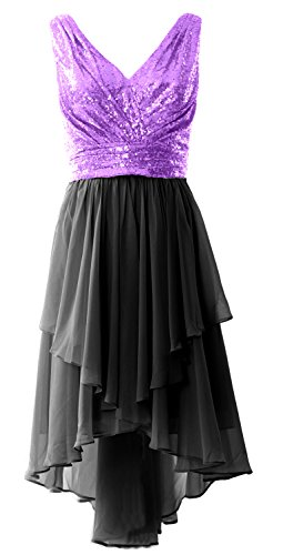 MACloth Women Straps V Neck Sequin Chiffon High Low Prom Dress Formal Party Gown Lavender-Black
