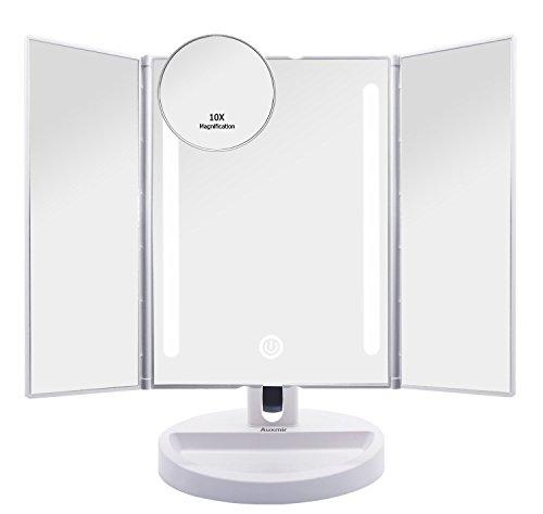 Auxmir Kosmetikspiegel mit LED Licht und Touchscreen aus Kristallglass und ABS Kunststoff, Schminkspiegel Beleuchtet mit Blendfreier Bleuchtung für Wohnzimmer, Kosmetikstudio, Spa und - Gesichts-licht-schalter