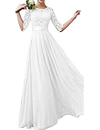 Women Crochet Half Sleeve Crochet Lace Top Wedding Bridesmaid Gown Prom  Dress fb3029ab2fc8