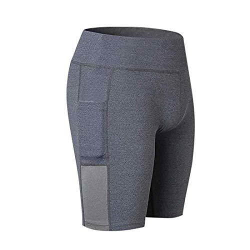 IOSHAPO Frauen aktiv Bauch Steuerung Kurze Hose Trainieren Laufen Kurze Hose mit Seitentaschen