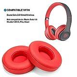 Ersatz Ohrpolster Rot WADEO drahtlose Kopfhörer Ear Cushion Replacement für Beats Solo 2 Leder Memory Foam Ohr Polsterfür Kopfhörer