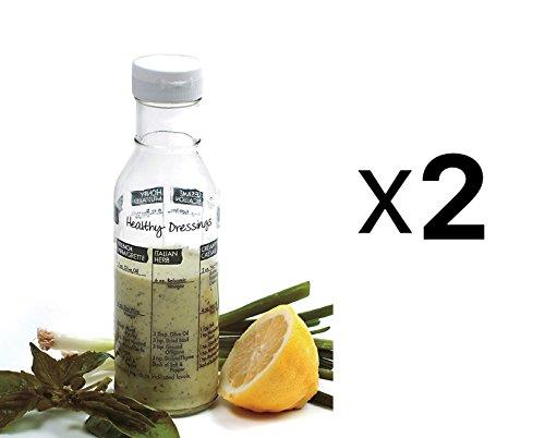 Norpro Glass Salad Dressing Shaker Maker Mixer Bottle Cruet & Recipes 2-Pack