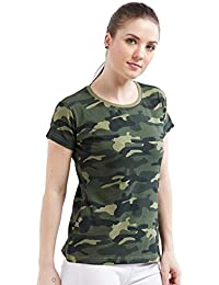 e9d2f794bf Wear Your Opinion Women s Cotton Camouflage Army Military Print Half Sleeve  T-Shirt Top