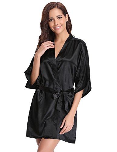 Aibrou Damen Satin Kimono Nachthemd Nachtwäsche Langer Morgenmantel Bademantel Schlafanzug Unterwäsche mit Gürtel Schwarz XXL
