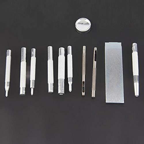 Yongse 11Stk Metall-Stanzlöcher Schnappniet Setter Base Kit DIY Lederwerkzeug