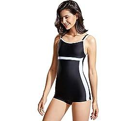 DELIMIRA Costume da Bagno Intero Donna con Short Piscina Imbottite Nero IT 52 (EU 46)