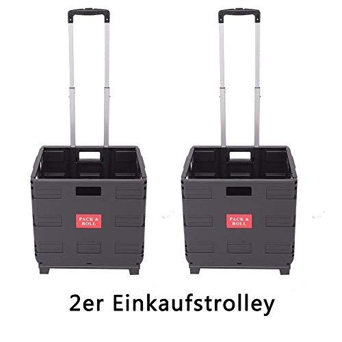 Ectxo 2er Klappbox mit Rollen Einkaufskörb Faltbar Einkaufstrolleys Klappbarer Shopping Trolley 45L 35KG