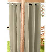 Stone Water Resistant Ready Made Outdoor Eyelet Curtain 55x72 Gazebo Summer House