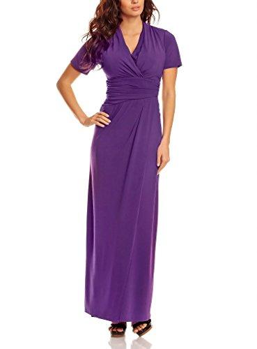 Robe de Soirée longue élégante pour Dames avec Manches Courtes et Col V Violet