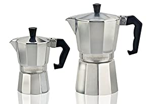 Cooks Professional Italian Espresso Coffee Maker Stove Top Macchinetta in 2 or 6 Cup.