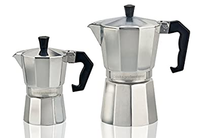 Cooks Professional Italian Espresso Coffee Maker Stove Top Macchinetta in 2 or 6 Cup. from Cooks Professional