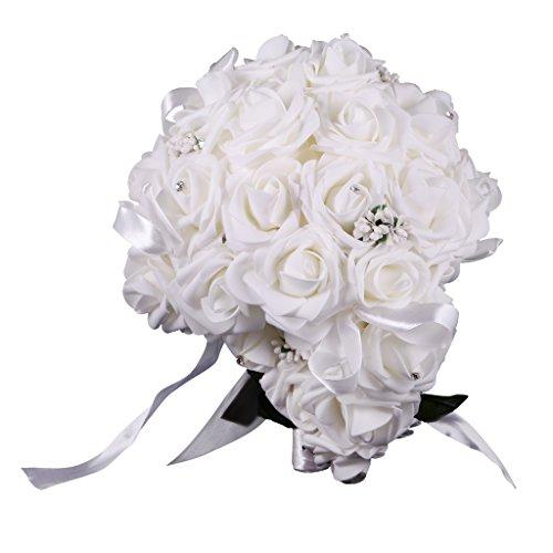 Flameer wedding bouquet drop cascade rose crystal bride bridesmaid hand holding flower - bianca