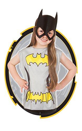 Generique Batgirl T-Shirt und Maske für Kinder Bunt 98/116 (3-6 Jahre)