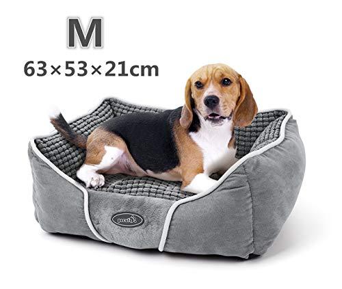 Pecute Hundebett Haustierbett für Katzen und Hunde Rechteck Ultra Weicher Plüsch luxuriöse Haustier-Schlafsack Maschine waschbar M (63 * 53 cm) -