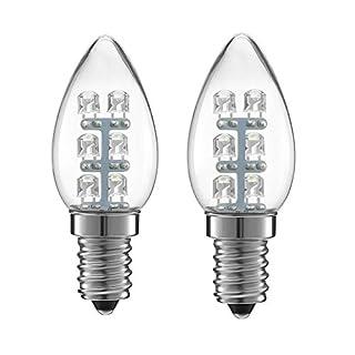 ALFA Beleuchtung LED 0,5 Watt (5 W) Kleine Glühbirne, 15 Lumen C7 Night Leuchtmittel 2900 K weichen, weißen Licht, E14 Basis, 2er Pack