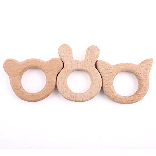 baby tete Bébé Dentition Dentition en Bois Montessori Toys 3PCS Pendentifs Bijoux Bricolage Collier Fait Main bio Cadeau de Douche à croquer