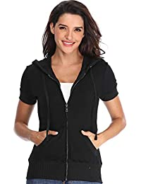8bcc214da MISS MOLY Womens Hoodies Zip Up Short Sleeves Ladies Hooded Cardigans  Sweatshirt Fitted Jackets with Pockets