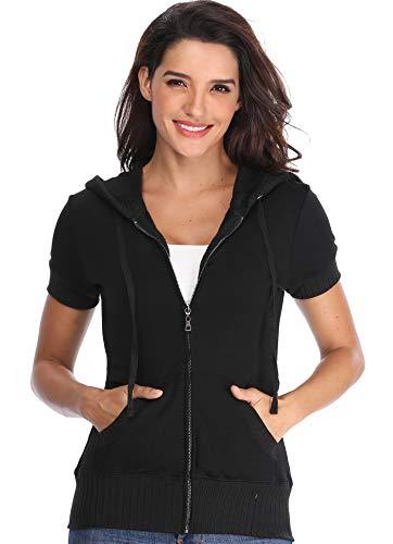 Women's Hoodies Schwarz Zip vorne Front mit Kurze Ärmeln Kapuzenshirts Damen Freizeitjacke Taschen Basic Oberbekleidung - M