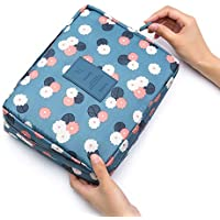 Oplon Estuche de almacenamiento portátil de gran capacidad para artículos de tocador de viaje, bolsa de lavado, porta maquillaje Neceseres
