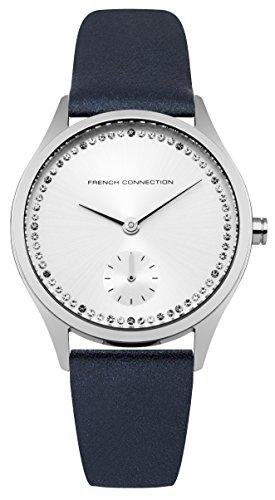 French Connection–Reloj de cuarzo para mujer con esfera analógica y azul correa de piel plata fc1272u