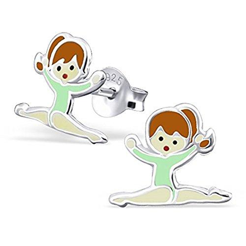 Kleine Ohrstecker mit Mädchen im grünen Gymnastik-Anzug, aus Sterlingsilber, mit ()