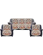 Kuber Industries Flower Cotton 6 Piece 5 Seater Sofa Cover Set (Brown) - CTKTC022268