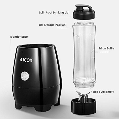Aicok Mini Batidora Individual  Portátil Batidora de vaso 600ml  para Smoothies  Zumos de Fruta y Verdura  Milkshake  300W  Libre de BPA  Negro