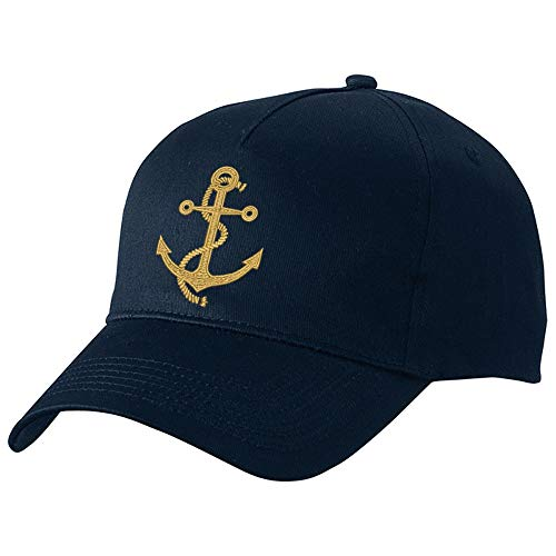 Nashville print factory Basecap Bestickt mit Motiv Anker in Gold Stickerei Captain Kapitän Boot Mütze Cappy (Navy) -