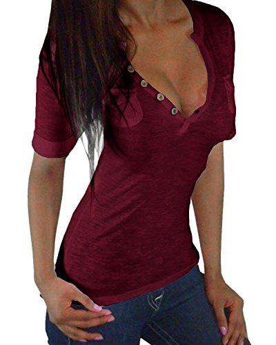 ZANZEA Mujer Camiseta Mangas Cortas Blusa Cuello Botones Elegante Noche Deportiva Casual (EU 48, Burdeos)
