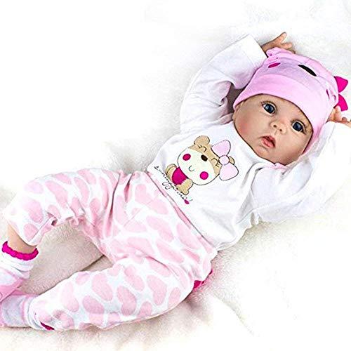 NPKDOLL Réaliste Nouveau-Né Bébé Reborn Baby Doll Poupée Poupons de Silicone Fille Bouche magnétique 22 Pouce 55 cm
