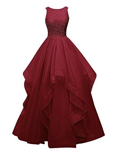 Dresstells, Robe de soirée Robe de bal Robe de cérémonie asymétrique en organza emperlée Rouge