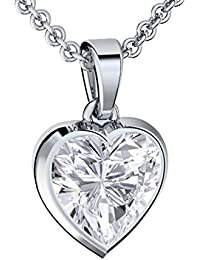 Heart Necklace Sterling Silver 925 for Women Zirconia Gem I Love You Engraved Box Romantic Gifts for Girlfriend Pendant Birthday Presents Womens Necklaces Unique Ideas Jewellery Set