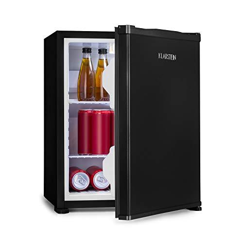 Klarstein Nagano S Mini-Kühlschrank - 38 Liter Nutzinhalt, Kühlung von 0-8°C, 0 dB, lautlos, geräuschlos, 54,5 cm Höhe, noFrost, Automatisches Abtausystem, 2 Ablagen, 2 Türfächer, schwarz