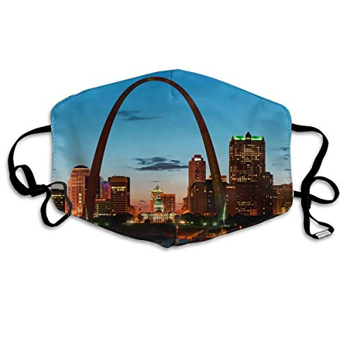 Vbnbvn Unisex Mundmaske,Wiederverwendbar Anti Staub Schutzhülle,St. Louis Skyline Adult Creative Mouth-Masks Washable Safety 100% Polyester Comfortable Breathable Health Anti-Dust Half Face Masks