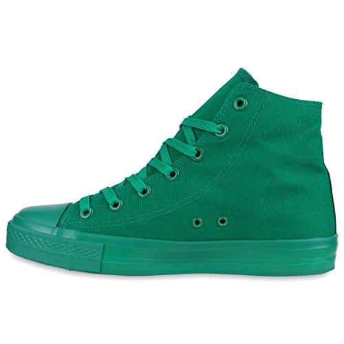 Herren Schuhe Sneakers   Sneaker High Denim   Turnschuhe Camouflage   Stoffschuhe Schnürer Grün Grün
