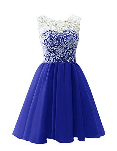 Dresstells, Robe de demoiselle d'honneur Robe de bal courte en tulle et dentelle longueur genou Bleu Saphir