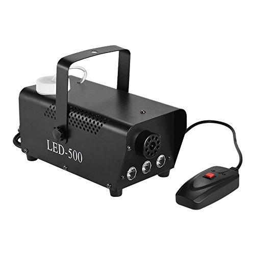ammoon Fog Machine LED Nebelmaschine 400W Bunte Fogger Nebel Nebelmaschine mit Springen Ändern LED Farbe Lichter (Rot, Blau, Grün) Kabelfernbedienung für Party Live Konzert DJ Bar KTV (Nebel Machine Maker)