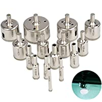 Diamantbohrer 15 Stück Glasbohrer Set 6mm-50mm Fliesenbohrer Hohlbohrer Diamant Bohrer Lochsäge Bohrkrone für Glas Fliese keramisches Marmor Porzel