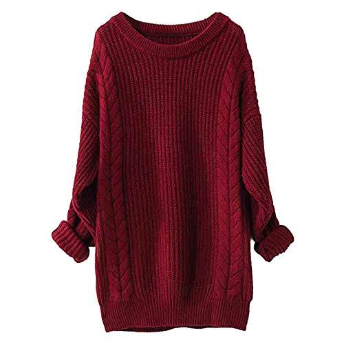 HULKY Maglione Donna Maglia Maglione in Vendita, Inverno Manica Lunga Scollo Rotondo T Shirt Slim Fit Top Maglia Camicie Venerdì Nero Vestiti(Vino Rosso,Medium)