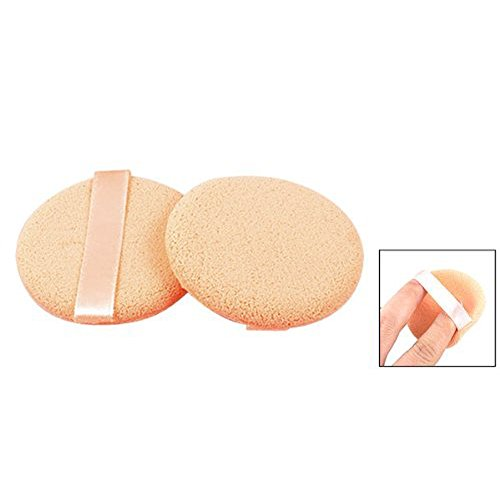 Ribbon Strap Round Sponge Cosmetic Powder Puff Pad Finishing Polish Pat Beige 2 Pcs