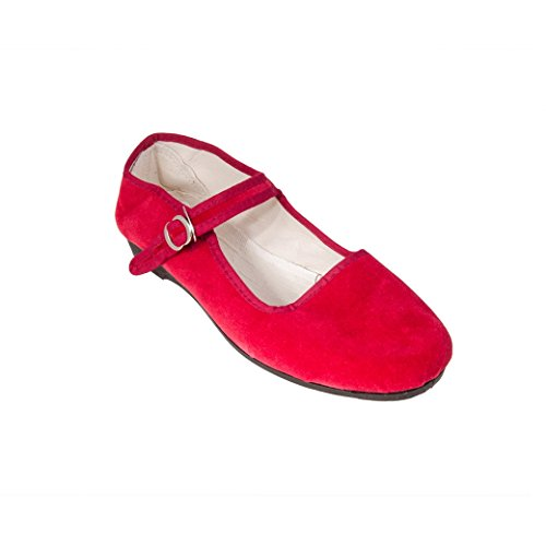Sonnenscheinschuhe® China Samtschuhe Gr. 35-42 Kirschrot Neu Chinaschuhe Rot Ballerinas Trachtenschuhe (38)